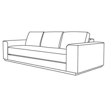 Pampa Sofa 108 inches wide: Walnut Black Magic with HOLLY HUNT Upholstery Options