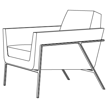 Stilt Coupe Lounge Chair Anodized Aluminium Finishes with HOLLY HUNT Upholstery Options