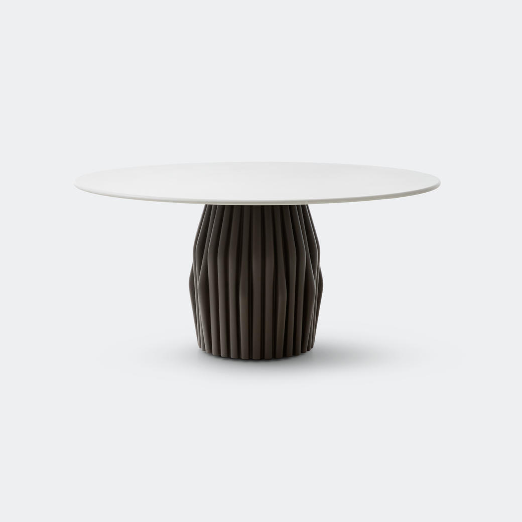 Oryx Dining Table with Oyster Base and Pure White Top