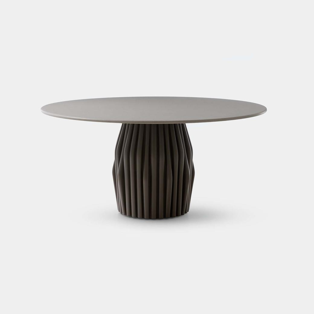 Oryx Dining Table with Oyster Base and Belgium Fog Top
