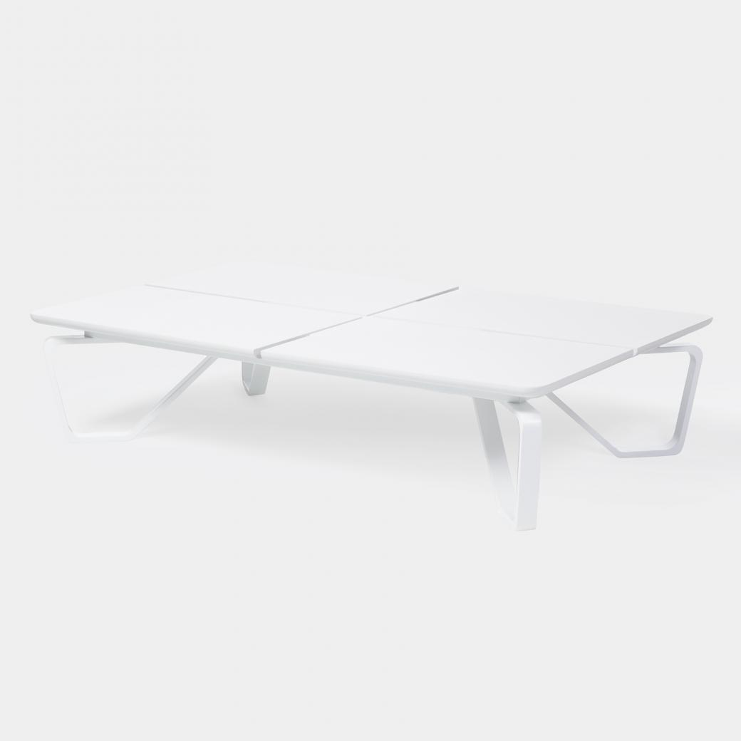 Meduse Rectangular Cocktail Table, Pure White Stone Top, Pearl Frame