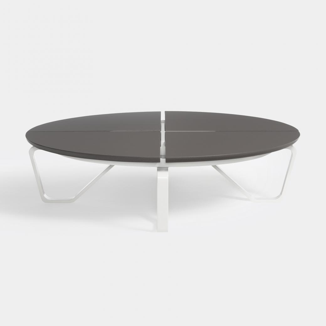 Meduse Round Cocktail Table, Ebony Stone Top, Pearl Frame