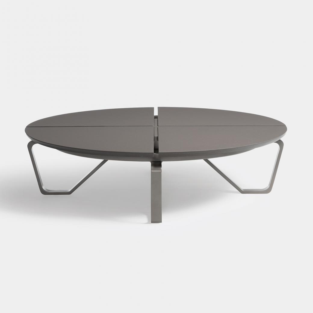 Meduse Round Cocktail Table, Ebony Stone Top, Oyster Frame
