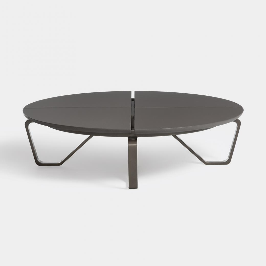Meduse Round Cocktail Table, Ebony Stone Top, Basalt Frame
