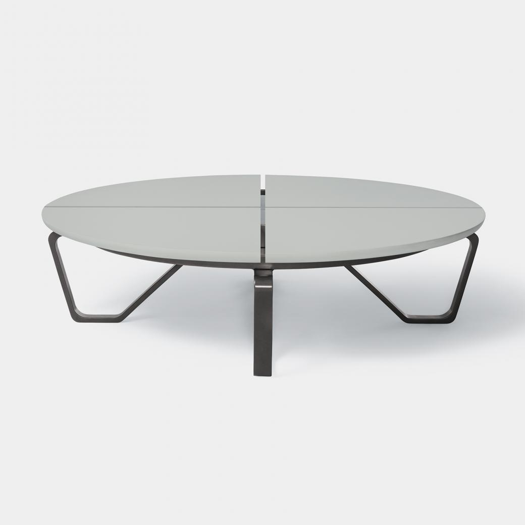 Meduse Round Cocktail Table, Belgium Fog Stone Top, Basalt Frame