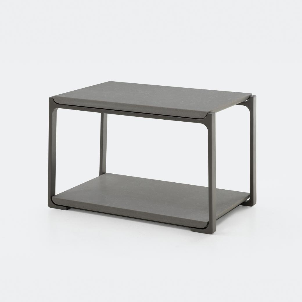 Plankton Rectangular Side Table, Belgium Fog Stone Top, Oyster Frame