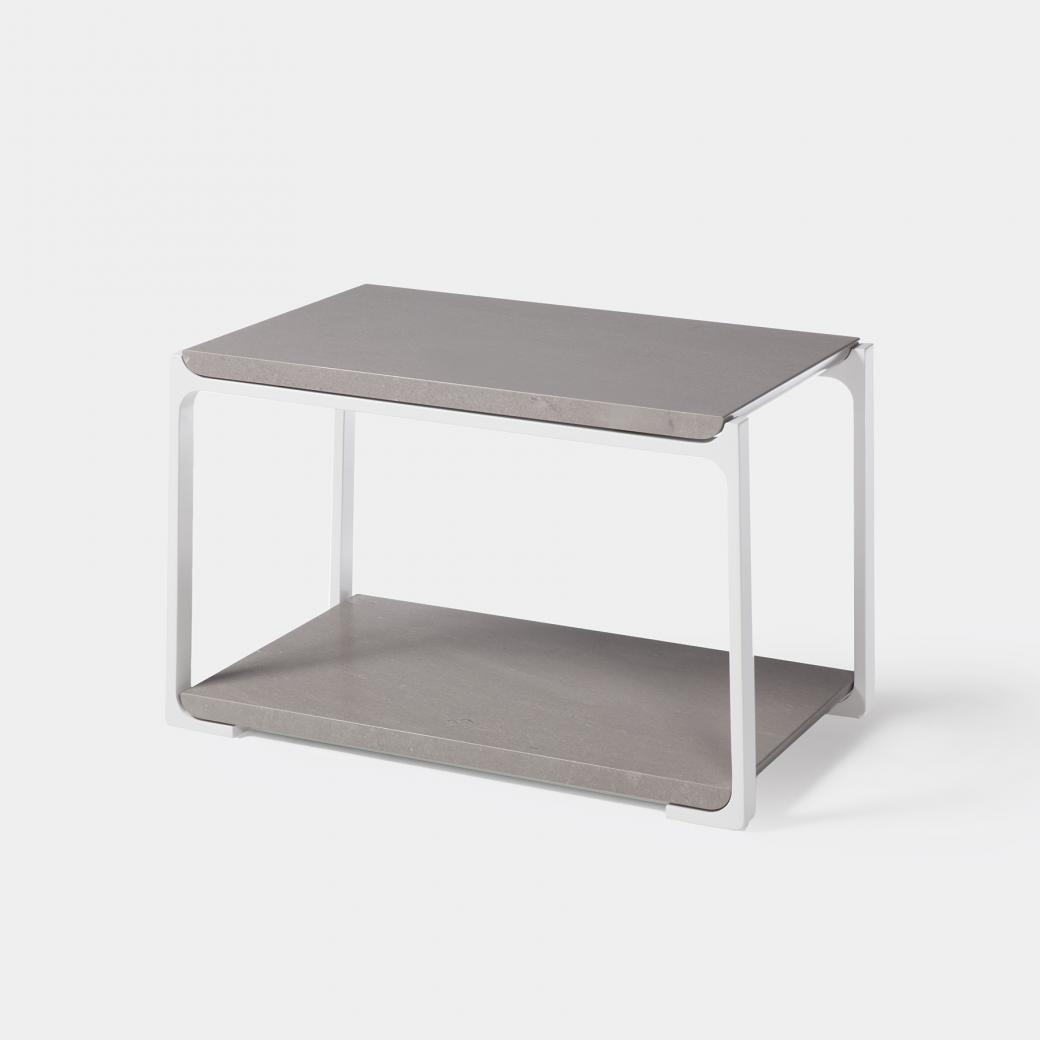 Plankton Rectangular Side Table, Belgium Fog Stone Top, Pearl Frame