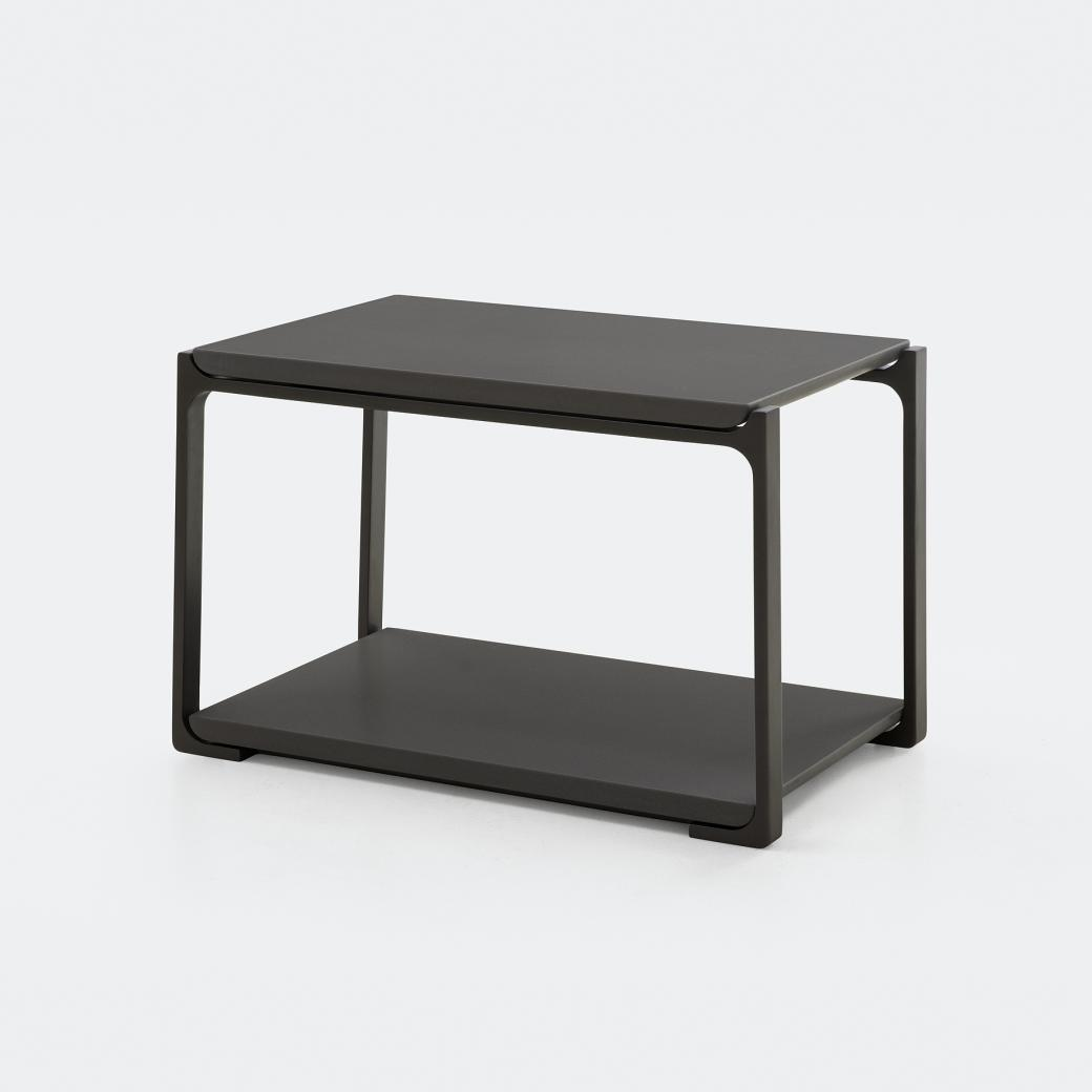 Plankton Rectangular Side Table, Cobalt Grey Stone Top, Basalt Frame