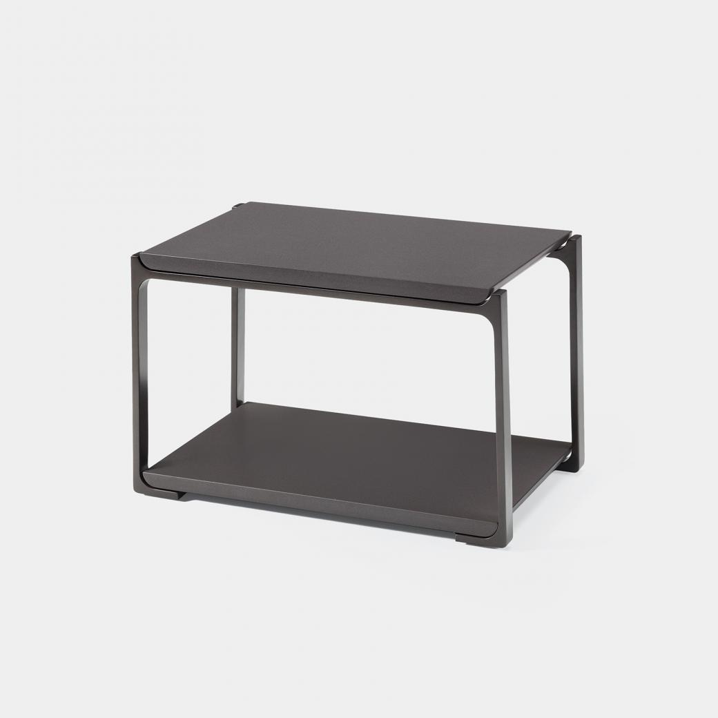 Plankton Rectangular Side Table, Cobalt Grey Stone Top, Oyster Frame