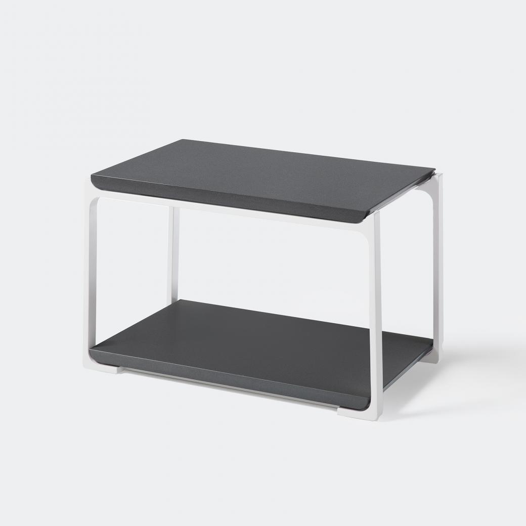 Plankton Rectangular Side Table, Cobalt Grey Stone Top, Pearl Frame