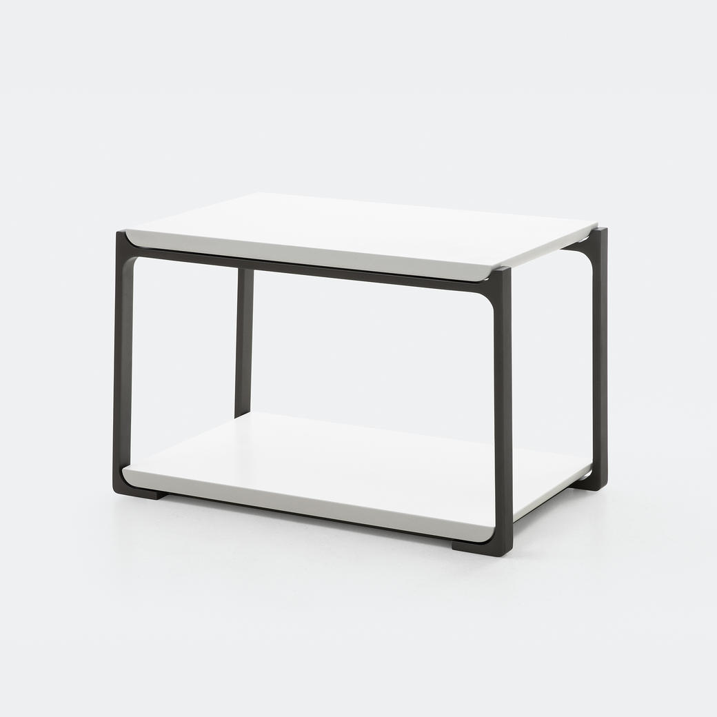 Plankton Rectangular Side Table Pure White Stone Top, Basalt Frame