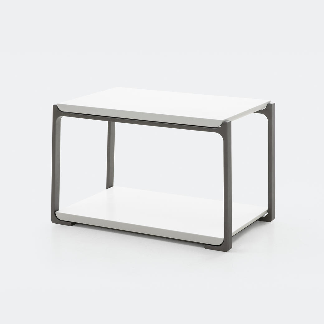 Plankton Rectangular Side Table Pure White Stone Top, Oyster Frame