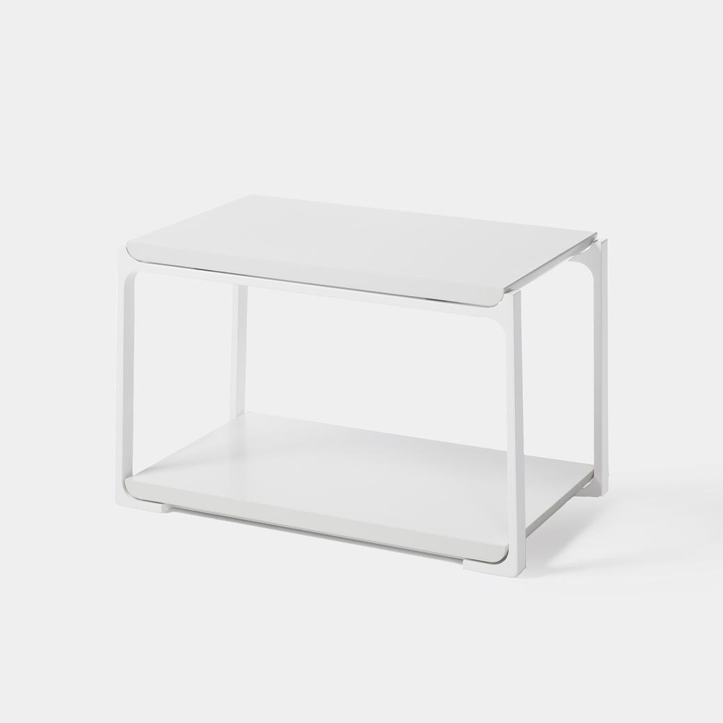 Plankton Rectangular Side Table Pure White Stone Top, Pearl Frame
