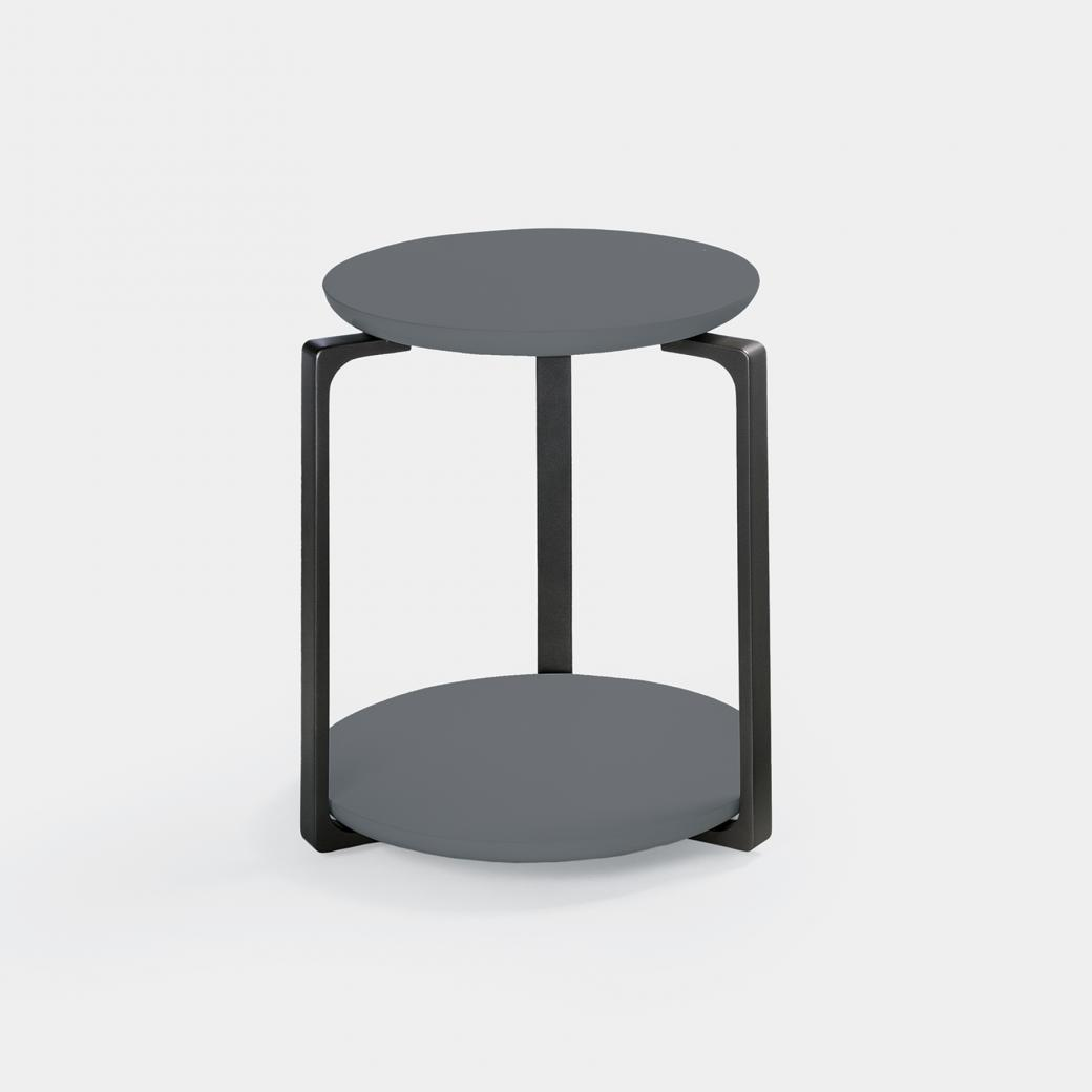 Plankton Round Side Table, Sz 1, Ebony Stone Top,Basalt Frame