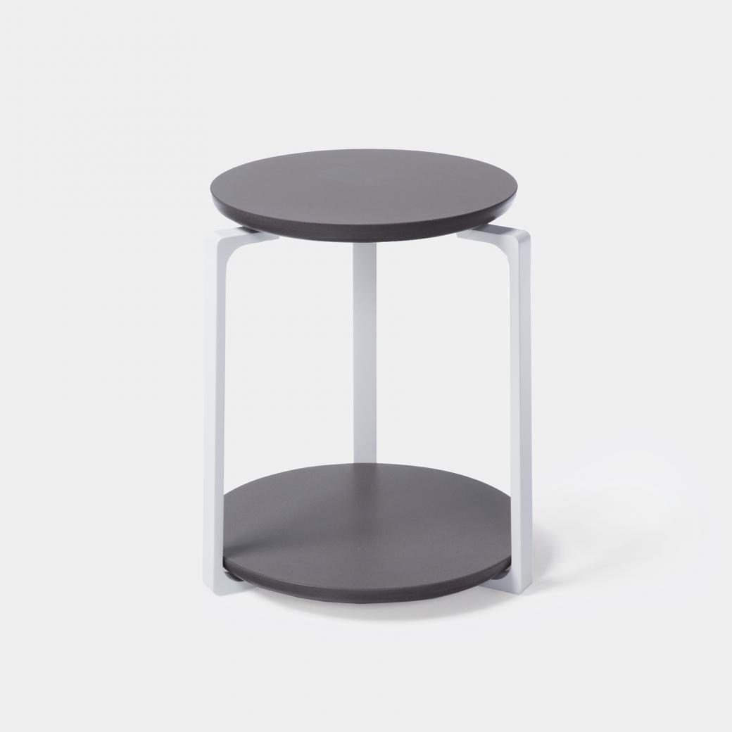 Plankton Round Side Table, Sz 1, Ebony Stone Top, Pearl Frame
