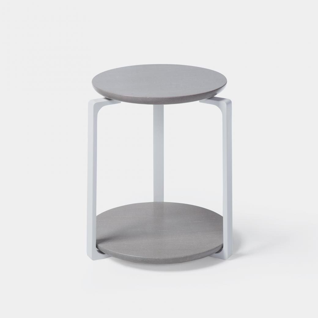Plankton Round Side Table , Sz 1, Belgium Fog Stone Top, Pearl Frame