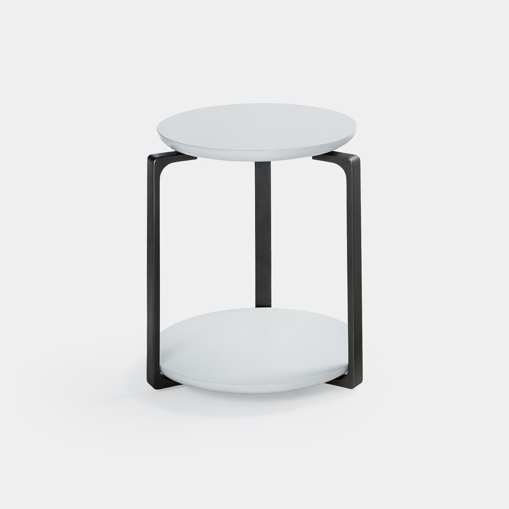 Plankton Round Side Table Sz 1, Pure White Stone Top, Basalt Frame