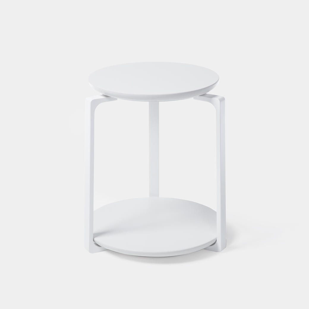 Plankton Round Side Table Sz 1, Pure White Stone Top, Pearl Frame