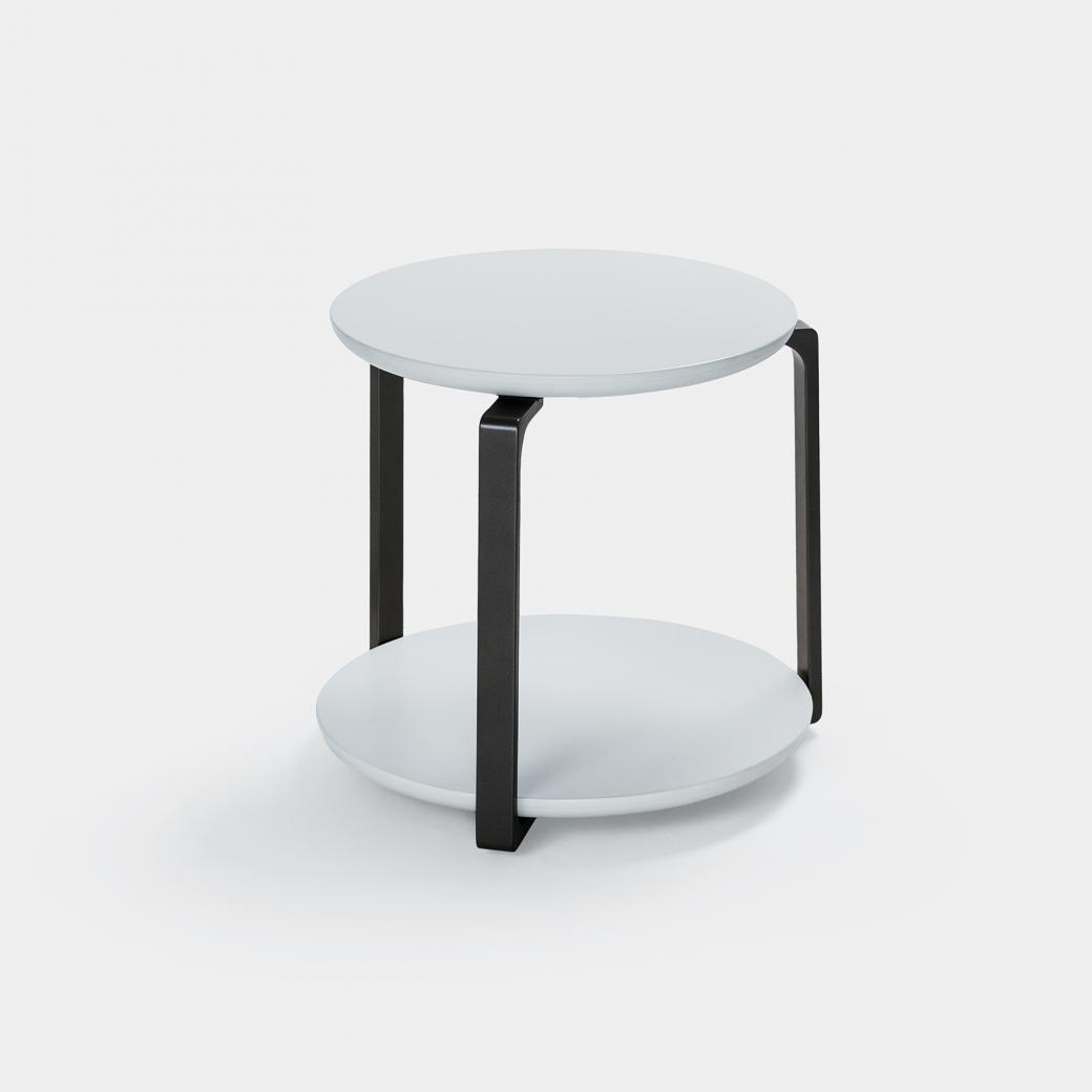 Plankton Round Side Table , Sz 2, Pure White Stone Top, Basalt Frame