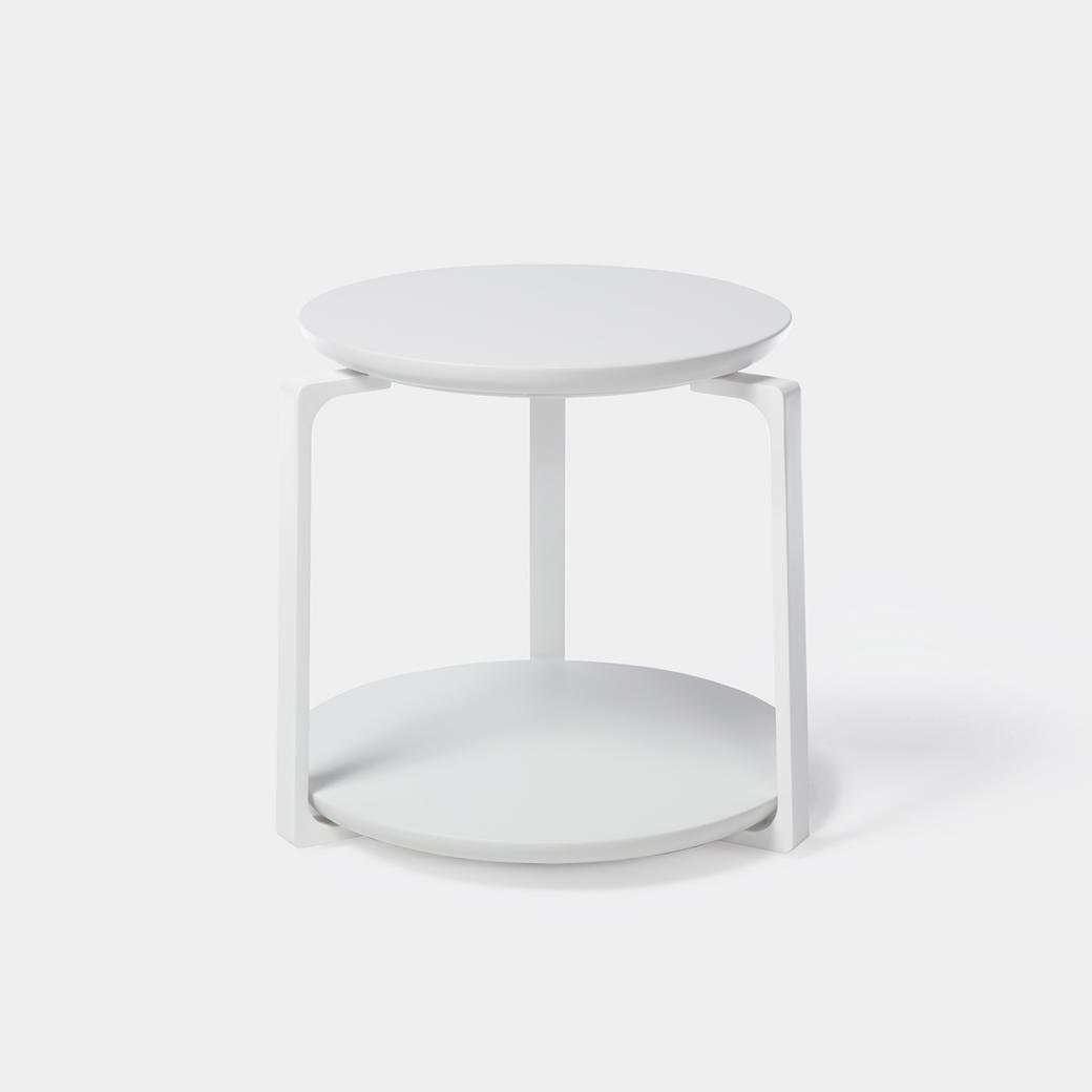 Plankton Round Side Table , Sz 2, Pure White Stone Top, Pearl Frame