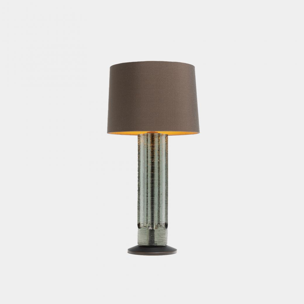 Sea Glass Table Lamp Gray Glass with Silk Luxe Clove Shade