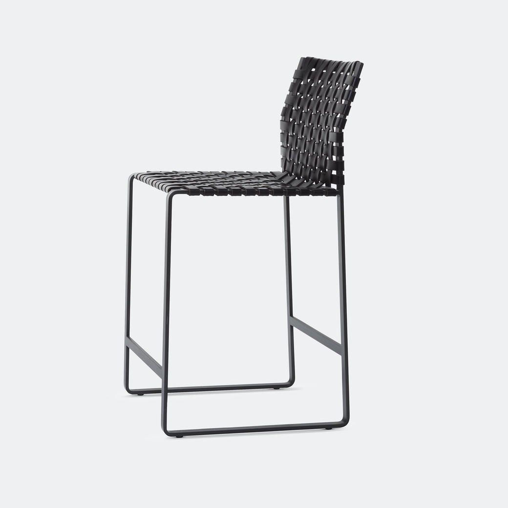 High Woven Back Counter Stool Black Steel with Dar Black Steel with Dark Brown Leather