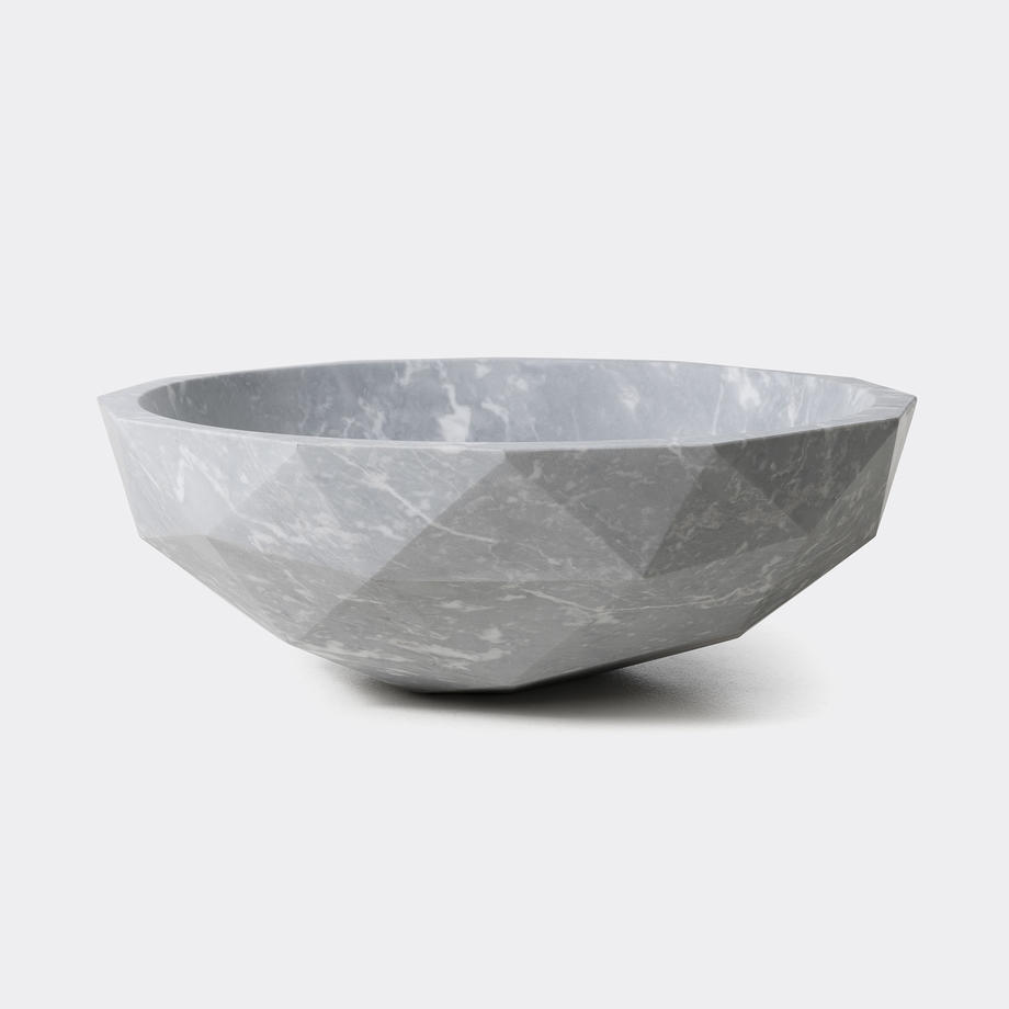 Diamond Bowl in Light Honed Marble