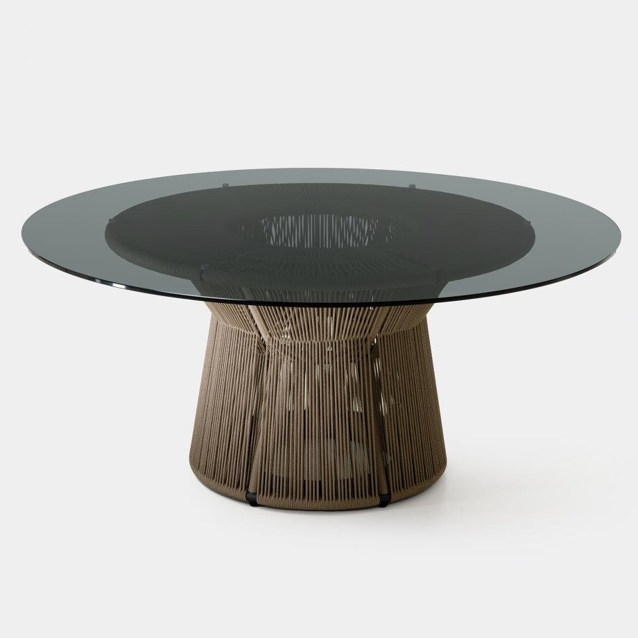 Acacia Dining Table, Fawn Base, Smoked Glass Top