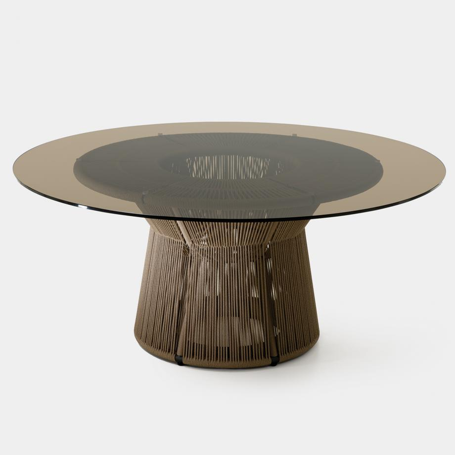 Acacia Dining Table, Fawn Base, Bronze Glass Top
