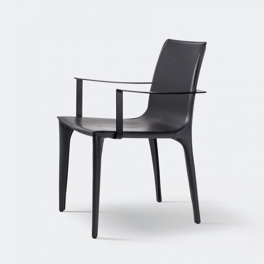 Adriatic Dining Arm Chair Black Matte, Dark Grey 02-200