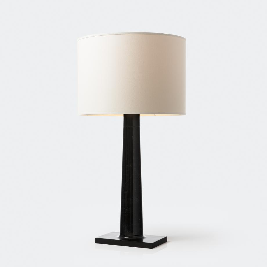 Athena Table Lamp Dark Marble with Aquarelle Shade