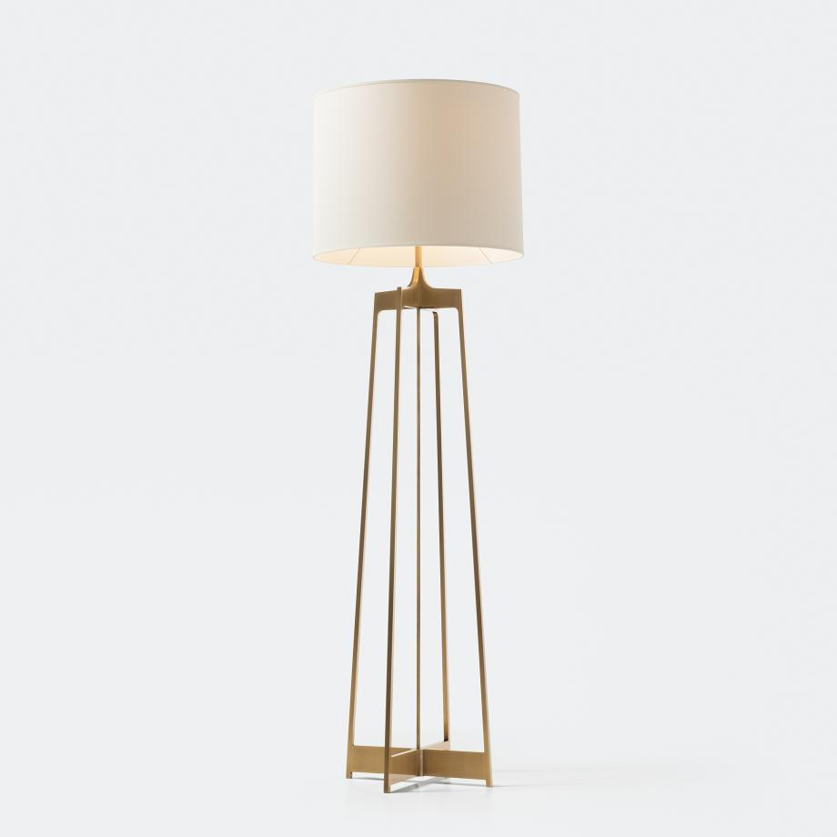 Avedon Floor Lamp Golden Bronze Patina with Aquarelle Shade