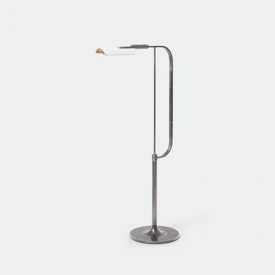 Bowyer Reading Lamp, Lightly Aged Nickel w/ South Cape Leather Shade