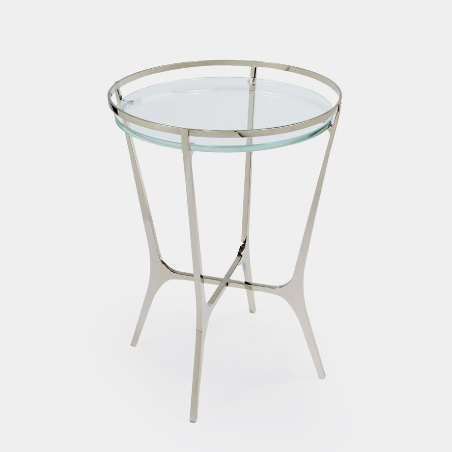 Chloe Drink Table Polished Nickel Base, Starfire Glass Top