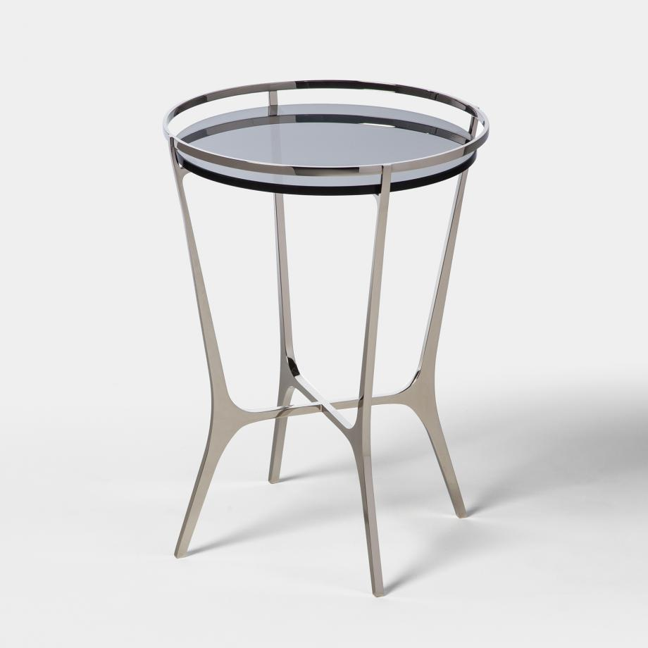 Chloe Drink Table Polished Nickel Base, Grey Smoked Glass Top