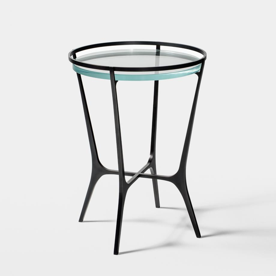 Chloe Drink Table Dark Bronze Base, Starfire Glass Top