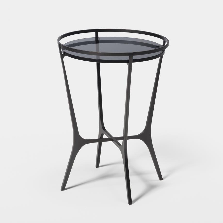 Chloe Drink Table Dark Bronze Base, Grey Smoked Glass Top