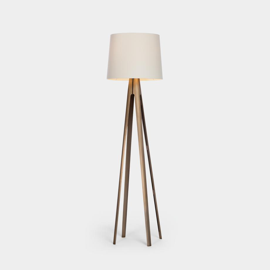 Compass Floor Lamp Monument Light Bronze With Aquarelle Shade