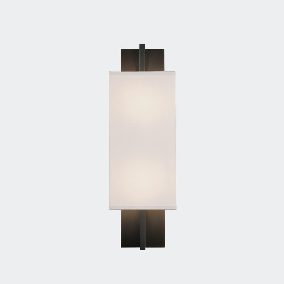 Elevation Sconce Bronze Patina with Aquarelle Shade