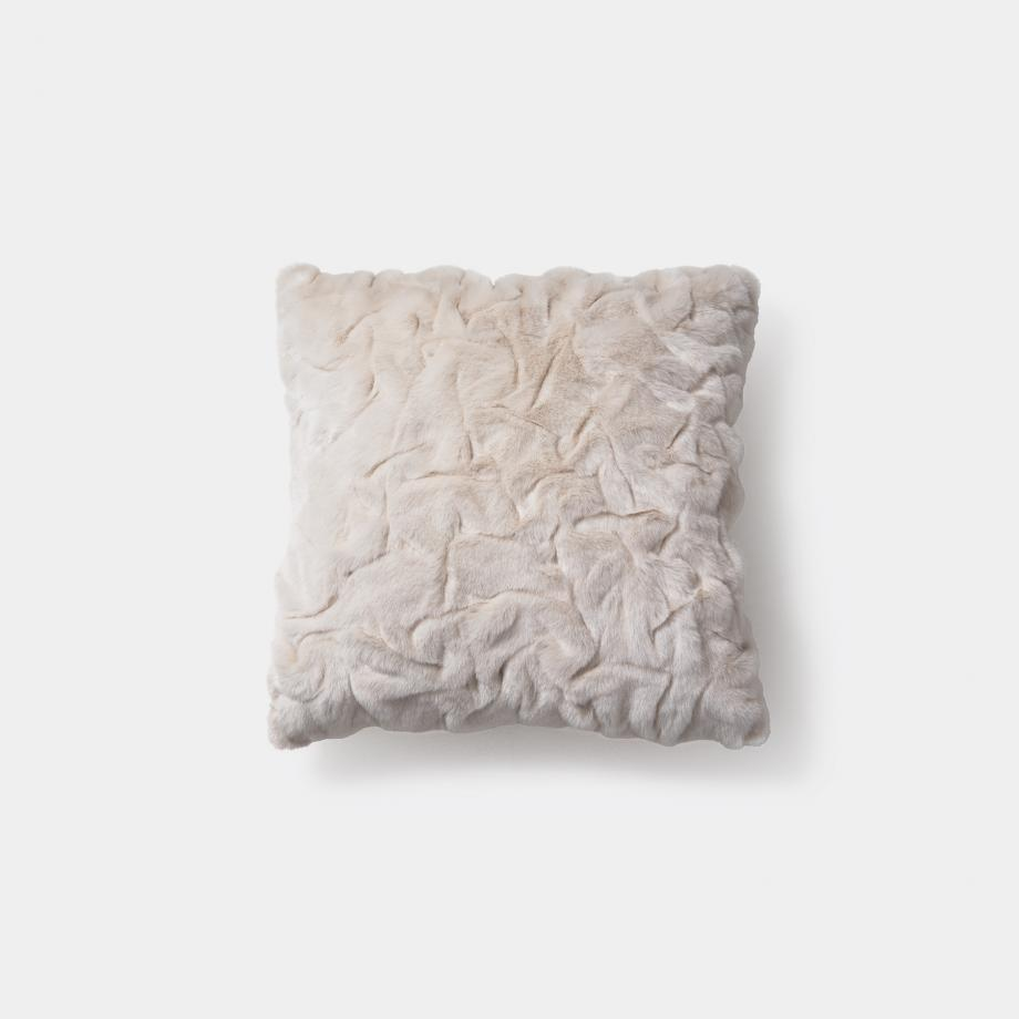 Faux Pleated Pillow 22 x 22, White Arctic Fox