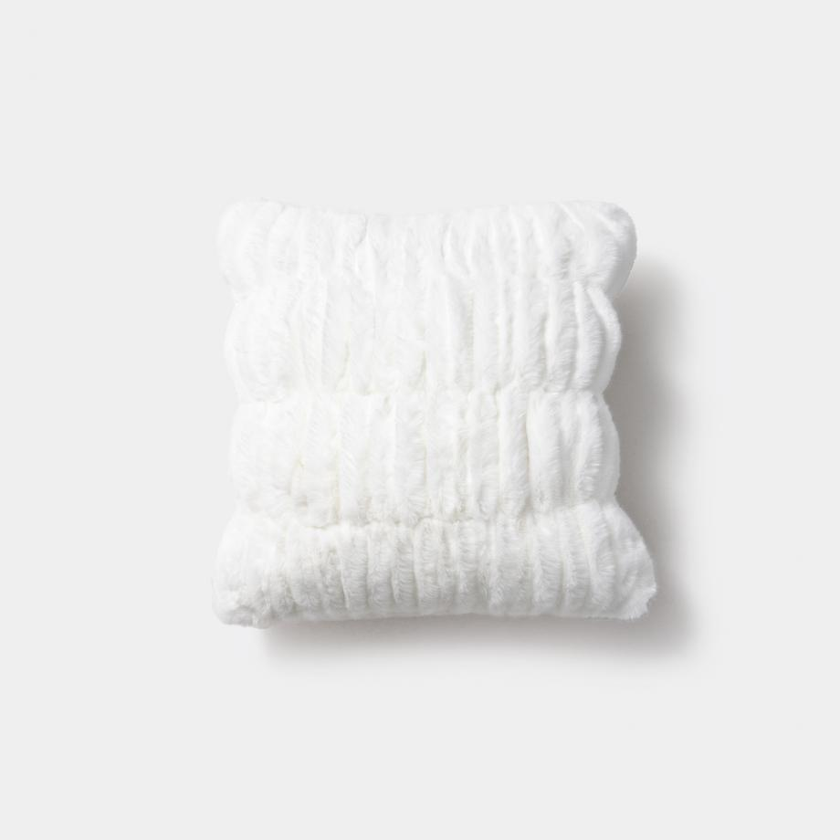 Faux Ruched Pillow 20 x 20, White Winter Mink
