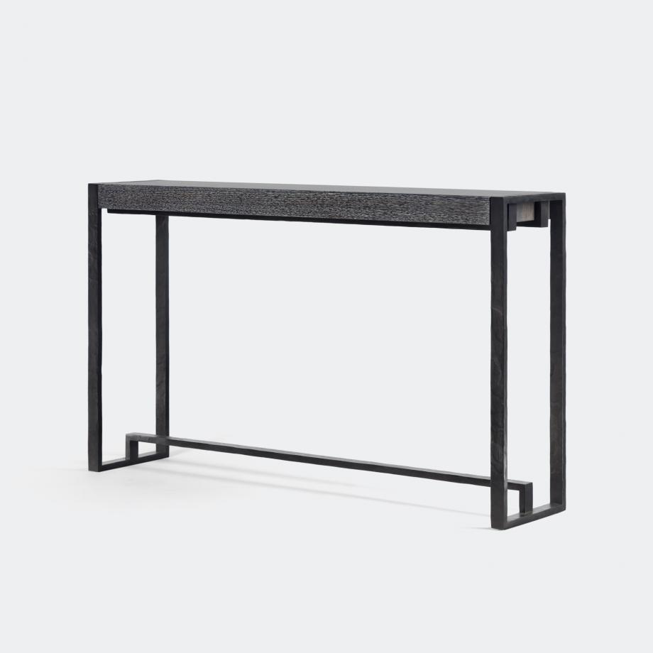 Hastings Console Hand Forged Iron Base, Oak RD3 Top