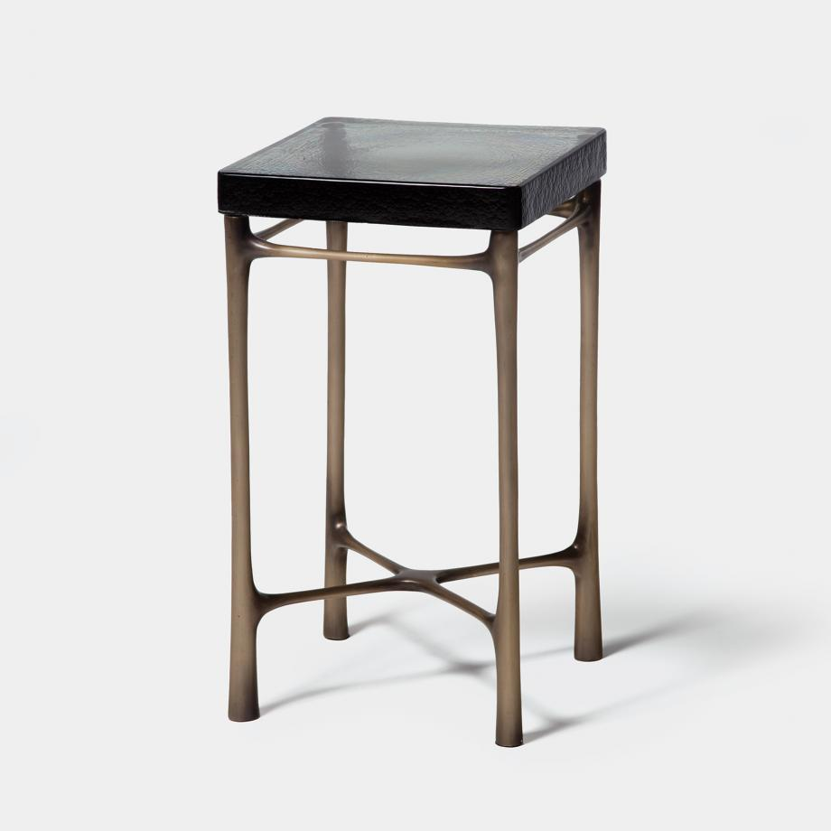 Highline Drink Table Sz 1, Monument Light Bronze, Smoke Cast Glass Top