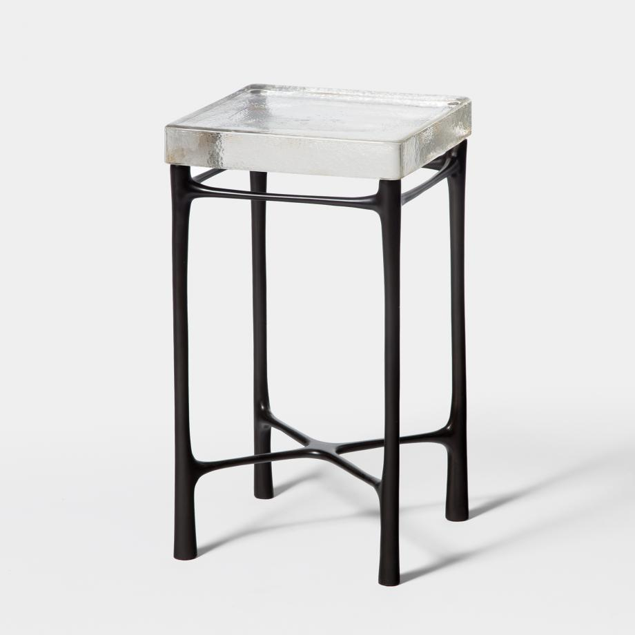 Highline Drink Table Sz 1, Monument Dark Bronze, Clear Cast Glass Top