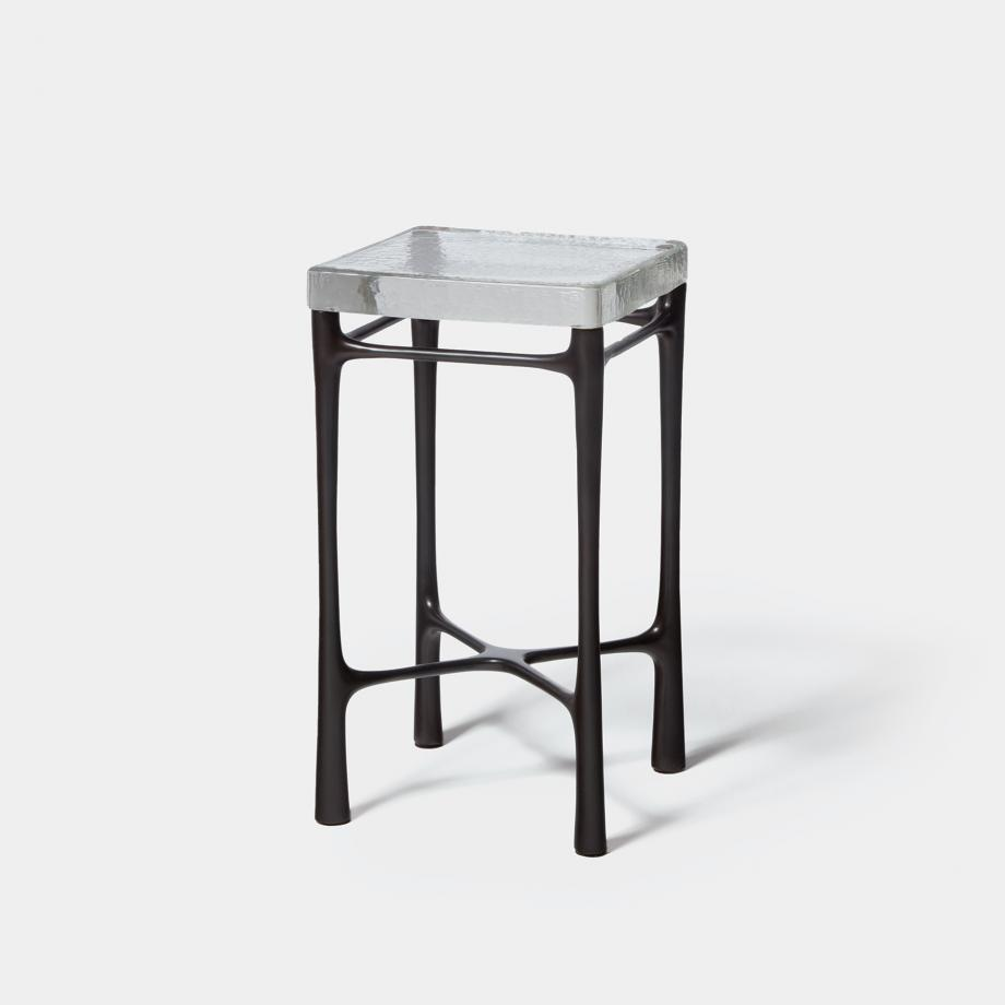 Highline Drink Table Sz 2 Monument Dark Bronze Base, Clear Cast Glass