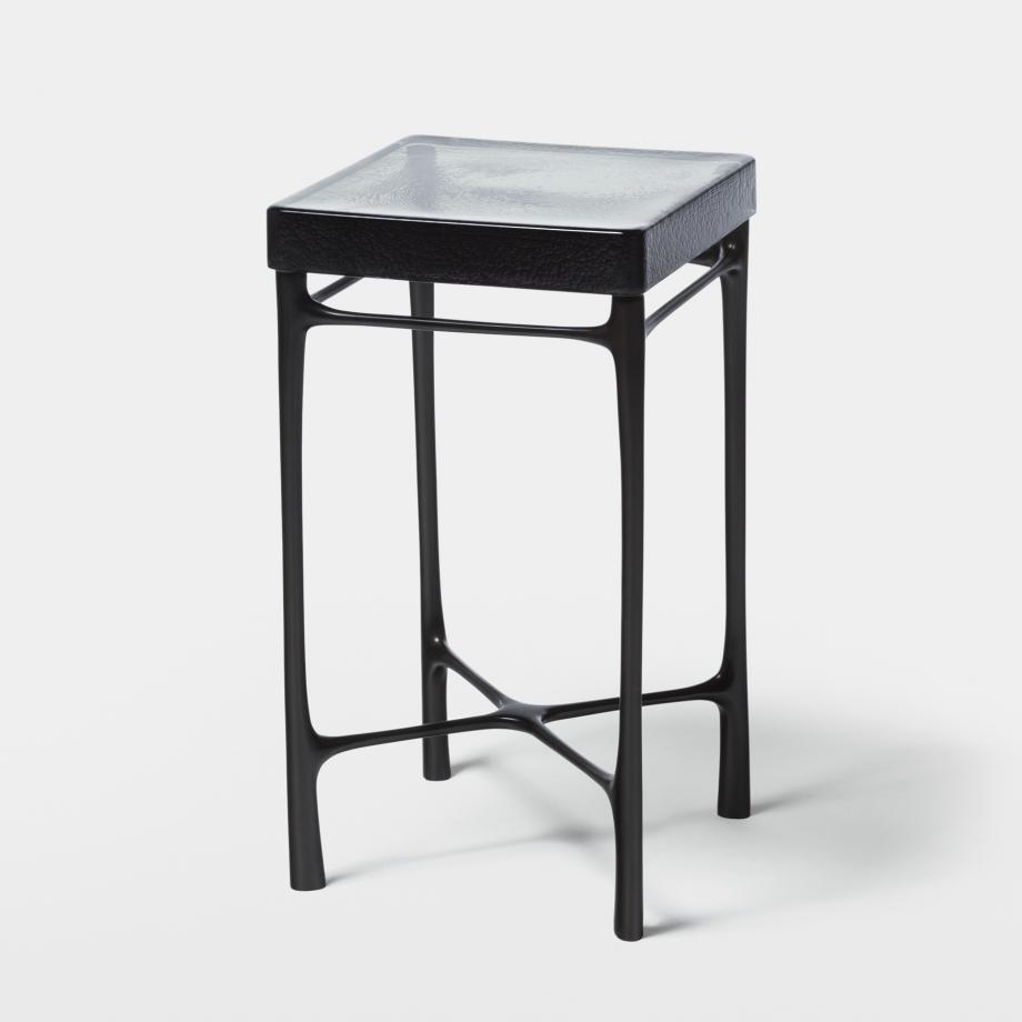 Highline Drink Table Sz 1, Monument Dark Bronze, Smoke Cast Glass Top