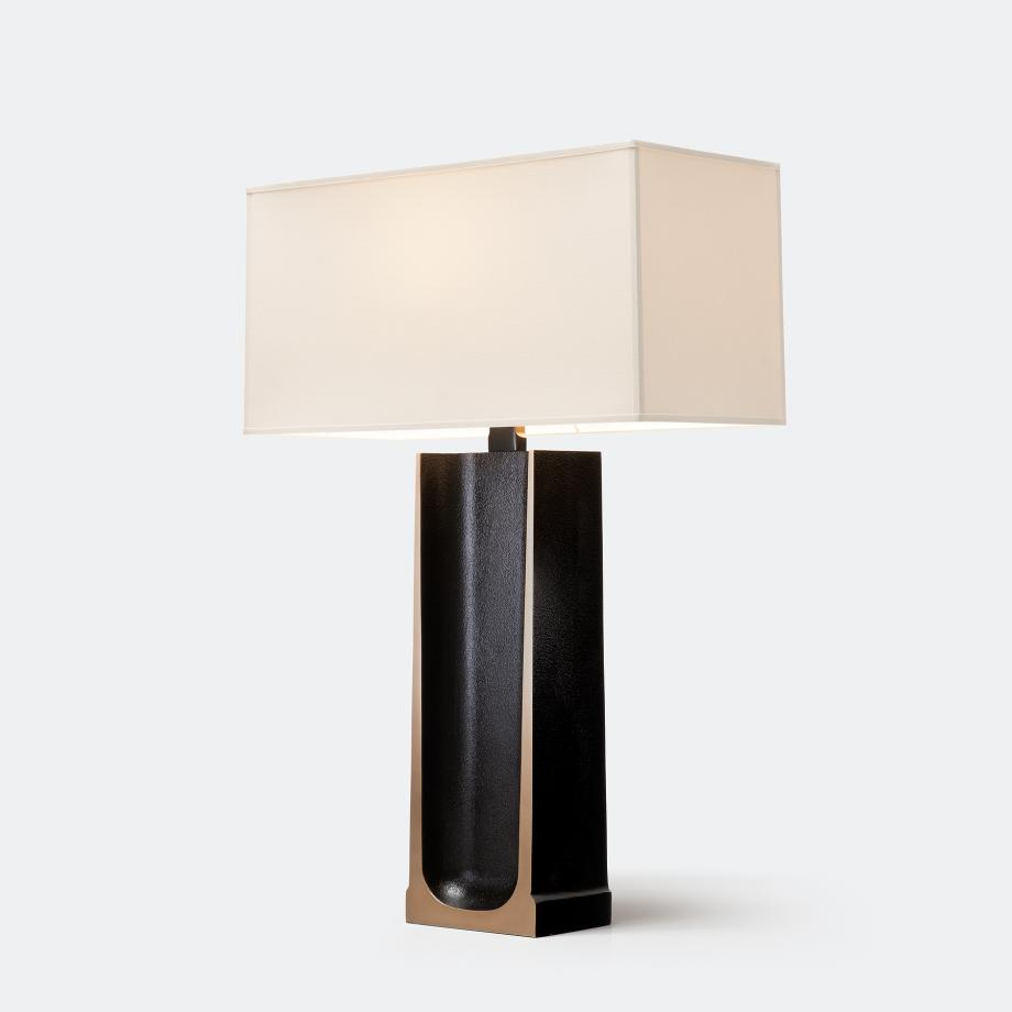 Ingot Table Lamp Monument Dark Patina with Aquarelle Shade