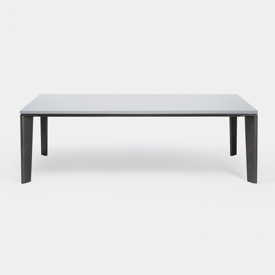 Keel Dining Table Sz 1, Pure White Top, Basalt Frame