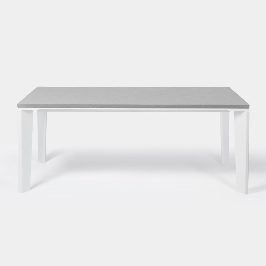 Keel Dining Table - Outdoor, Sz 2, Belgium Fog Top, Pearl Frame