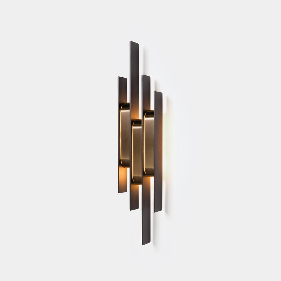 Meridian Sconce Dark Bronze Primary with Golden Bronze Shades